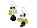 "Sterling Silver Citrine/crystal/tiger""s Eye Earrings"