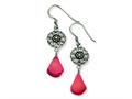 Sterling Silver Dyed Red Coral Antiqued Earrings