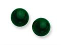 Sterling Silver 8-8.5mm Button Emerald Green Agate Post Earrings