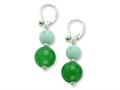 Sterling Silver 12mm Aventurine/10mm Amazonite Dangle Earrings