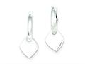 Sterling Silver Diamond Shape Dangle Hoop Earrings