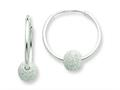 Sterling Silver Laser Bead Endless Hoop Earrings