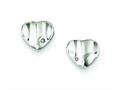 Sterling Silver Diamond Accent Polished Wavy Heart Post Earrings