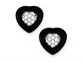 Sterling Silver Polished Onyx and Cubic Zirconia Heart Post Earrings
