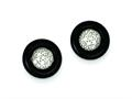 Sterling Silver Onyx and Cubic Zirconia Round Post Earrings