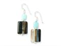 Sterling Silver Aquamarine/botswana Agate Earrings