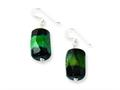 Sterling Silver Green and Black Agate Earrings