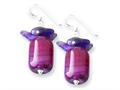 Sterling Silver Purple Agate and Amethyst Earrings
