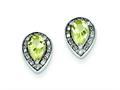Sterling Silver Diamond and Lemon Quartz Earrings