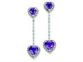 Sterling Silver Diamond and Amethyst Earrings