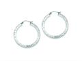 Sterling Silver Bright Cut 3x35mm Square Tube Hoop Earrings