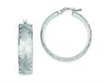 Sterling Silver Brushed and Diamond Cut Hollow Hoop Earrings