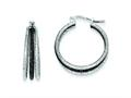 Sterling Silver and Black Rhodium Satin Finish Triple Hoop Earrings