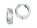 Sterling Silver Rhodium Bright Cut Polished Hinged Hoop Earrings