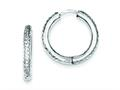 Sterling Silver Rhodium Polished Bright Cut Hinged Hoop Earrings