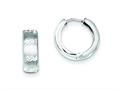 Sterling Silver Rhodium Brushed Diamond Cut Hinged Hoop Earrings