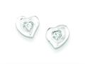 Sterling Silver Cubic Zirconia Heart Post Earrings