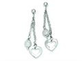 Sterling Silver Polished Heart and Textured Bead Dangle Post Earrings
