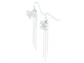 Sterling Silver Butterfly Wind Chime Dangle Shepherd Hook Earrings