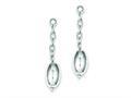 Sterling Silver Polished Oval Bead Dangle Post Earrings
