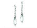 Sterling Silver Polished Oval Bead Dangle Post Earrings