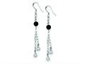 Sterling Silver Polished Black Onyx Bead Dangle Earrings
