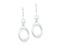 Sterling Silver Dangle With Cubic Zirconia Shepherd Hook Earrings