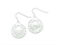 Sterling Silver Bright Cut Circle Dangle Earrings