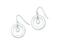 Sterling Silver Cubic Zirconia Bright Cut Circle Dangle Earrings