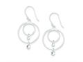 Sterling Silver Cubic Zirconia Shepherd Hook Earrings