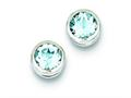 Sterling Silver Blue Topaz Circle Stud Earrings