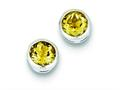 Sterling Silver Citrine Circle Stud Earrings