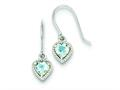 Sterling Silver Blue Topaz Small Heart Earrings
