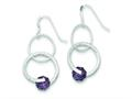 Sterling Silver Purple Glass Bead Shepherd Hook Earrings