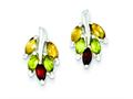 Sterling Silver Polished Citrine Garnet  Leaf Post Earrings