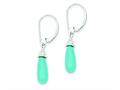 Sterling Silver Turquoise Stone and Cubic Zirconia Dangle Earrings