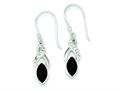 Sterling Silver Rhodium Stellux Crystal and Black Agate Earrings