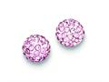 Sterling Silver 8mm Pink Cubic Zirconiaech Crystal Post Earrings