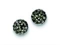 Sterling Silver 8mm Charcoal Cubic Zirconiaech Crystal Post Earrings