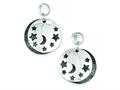 Sterling Silver Moon And Stars Black Rhodium Two Disc Post Earrings