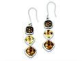 Sterling Silver Antiqued Cubic Zirconia Dangle Earrings