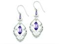 Sterling Silver Amethyst Fancy Dangle Earrings