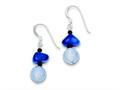 Sterling Silver Dark Blue Calcite/crack Agate With Shell/glass Earrings