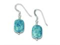 Sterling Silver Amazonite and Grey Glass Bead Stone Earrings