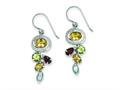 Sterling Silver Citrine Garnet Blue Topaz And Peridot Dangle Earrings