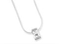 Sterling Silver Clear Cubic Zirconia Pendant On 18 Chain Necklace