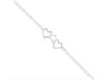 Sterling Silver 10inch Solid Polished Fancy Heart Link Anklet