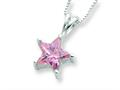 Sterling Silver Pink Cubic Zirconia Star Necklace