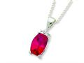 Sterling Silver Cushion Cut Red And Clear Cubic Zirconia Necklace