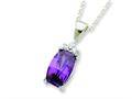 Sterling Silver Cushion Cut Purple And Clear Cubic Zirconia Necklace